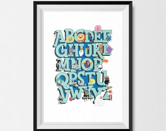 Adventure Time, Print, Alphabet Print, A3, Adventure Time Poster, Adventure Time Print, Finn and Jake