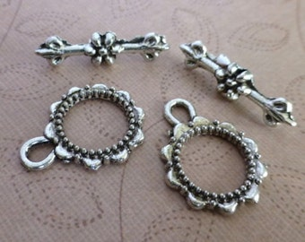 10 sets Antique silver toggle clasp clasps