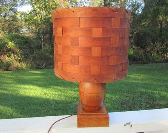 Mid Century Vintage Rustic Cabin Smallish Wood LAMP With Basket Weave SHADE Cottage Chic
