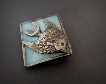 Vintage Fish Brooch Pendant, Fish Jewelry, Blue Brooch, Pewter Jewelry, Costume Jewelry, Ladies Jewelry Accessories