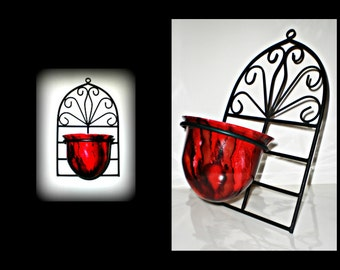 candle holder hand painted | red candle holder | red round candle holder | wall mounted candle holder | alcohol ink design candle holder
