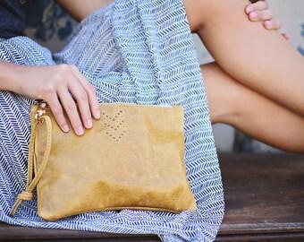 Leather Large Wristlet Handbag Blush Suede Chevron Micro Rivet Detail Brass Zipper Closure Available in 40 Colors
