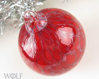 Blown Glass Christmas Ornament Red with Purple Speckle