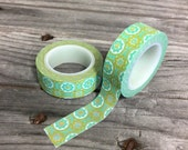 Washi Tape - 15mm - Vintage Funky Floral Avacado green and Teal blue -  Deco Paper Tape  No. 123