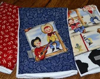"Cowboy Cowgirl Baby Burp Cloths ""Lil Cowpoke"" Set of3"