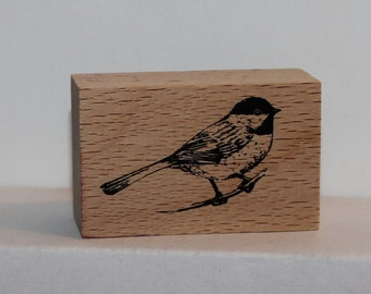 BIRD sitting on a limb wren Rubber Stamp