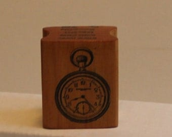 Vintage Pocket Watch Rubber Stamp