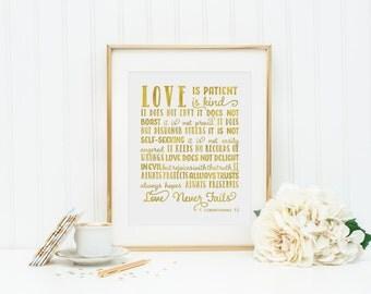 Love is Patient Love is Kind 8 x 10 Print. 1 Corinthians 13. Gold Art.  Wall Decor. Wedding Wall Art. Gold Wedding Decor. Wedding gift.