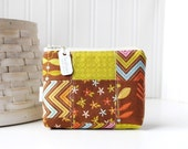 Brown and Green Patchwork Coin Purse Gift Card Credit Card Holder Floral Zipper Pouch Floral Change Purse