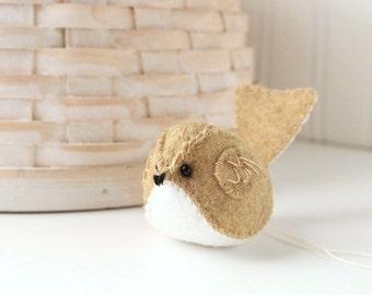 Tan Felt Bird Ornament Embroidered Handmade Christmas Ornament Wool Felt Bird
