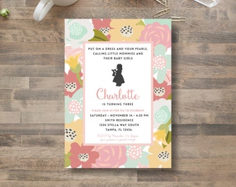 Baby DOLL party INVITATION/  little mommy / american girl / tea party