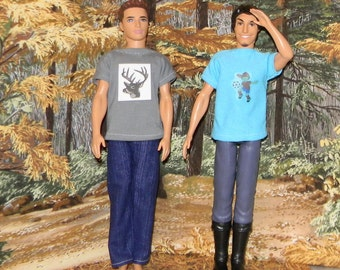 K3PC-03) Ken doll clothes, 1 pants and 2 printed T-shirts
