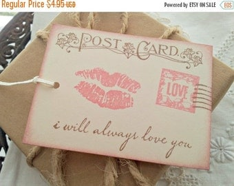 SALE Romantic Love Postcard Tags Wedding Set of 6