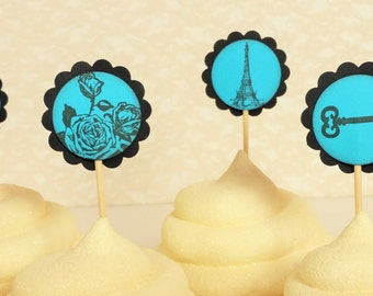 French Inspired Cupcake Toppers Eiffel Tower Rose Skeleton Key Blue Black Wedding Birthday