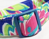 Lilly Pulitzer Fabric Dog Collar Girl Multi Toucan Play Blue Boy