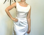 SALE 50% OFF Vintage 1960s/ Ivory Satin/ Wedding Dress/ Long Column/ Sleeveless/ Silk Flowers/ Pearl Lace/ Removable Train/ MAD Men Era/ 60s
