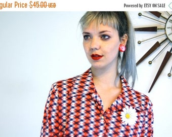 SALE 50% OFF Vintage 70s Long Sleeve Blouse MAD Men Ladies Shirt Geometric Argyle Print Red White & Blue Button Down Butterfly Collar 1970s