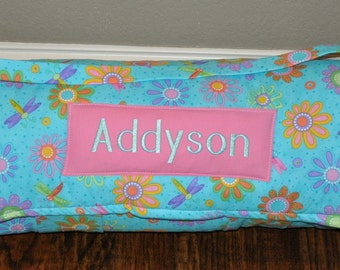 Nap Mat - Monogrammed Dragonfly Daisy Nap Mat with Pink Double-sided Minky or Minky Dot Blanket