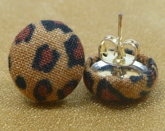 Leopard Print Fabric Button Earrings