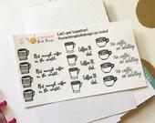 Coffee Addict Stickers | Hand Drawn | Erin Condren and Happy Planner | Matte
