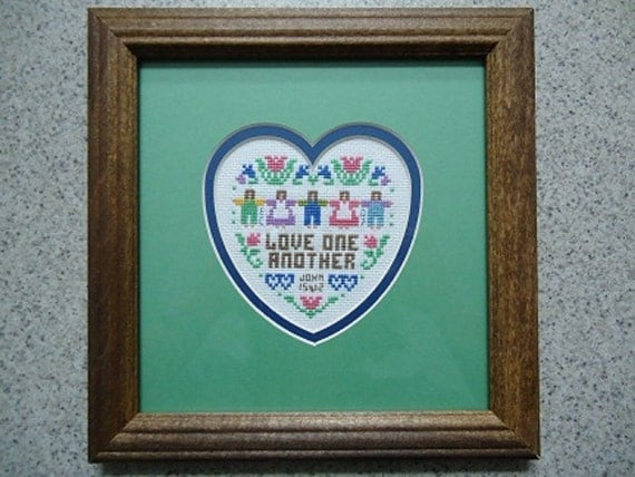 Love One Another Sampler  - Inspirational Cross Stitch Picture - Home Decor - Wall Decor