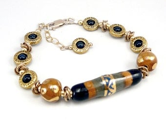 Ceramic Bracelet Handmade, Fair Trade Jewelry, Kazuri Beads African Bracelet, Adjustable Bracelet, One of a Kind Blue and Gold Bead Bracelet