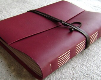 "8.5""x 11"" lined journal, deep red/burgundy/garnet red, handmade leather journal by Dancing Grey Studio(1892)"