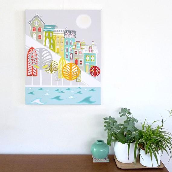 San Francisco Skyline, Large Wall Art Canvas, Framed Print, City Skyline, Cityscape illustration, Home decor ready to hang, Gift for, LCSF1