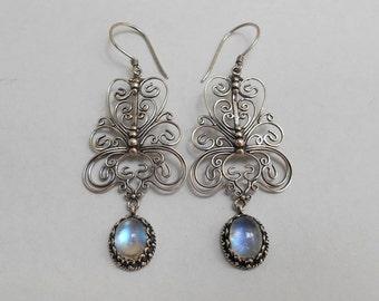 Balinese Sterling Silver moonstone gem dangle Earrings / 2.25 inch long  / Bali Handmade Jewelry