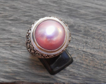 Solid Sterling Silver pink Mabe Pearl Ring / request your size / silver 925 / Bali handmade Jewelry