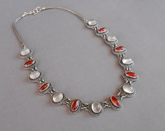 Sterling Silver choker necklace moonstone carnelian gemstones / Unique Handmade Jewelry