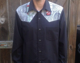 Mens Ghostbusters Western Shirt Upcycled