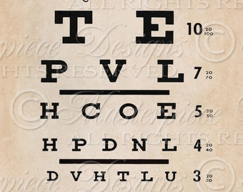 Eye Exam Chart Printable Art / Optometrist / Eye Doctor / Ready To Frame / Printable Instant Download and Print Digital Collage Sheet