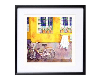 Bicycle Art Bike Art Watercolor Print Road Trip Watercolor Painting Bicycle Wall Art Travel Aquarelle Wall Art Decor LaBerge Muren A