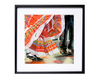 Mexican Travel Art  Archival Watercolor Print  Wall decor  Traditional Mexican dance folk art Oaxaca costume bright color black red A