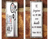 Bless The Lord Oh My Soul - Psalm 103 - Soldered Glass Tile Pendant Necklace - Scripture Art -Faith necklace