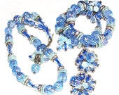 Hobe Sparkling Multi Color Blue 3 Pc Demi Parure, Hobe Vintage Jewelry Set In Shades of Blue