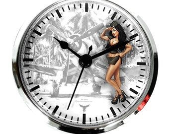 """3 1/2"""" (90mm) Brunette Pinup Nose Art WWII Airplane Corsair Army Salute Fit-Up Insert Clock - Make Custom Unique wood or metal Clocks"""