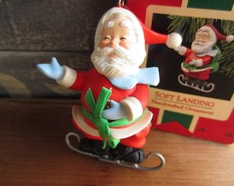 1988 Hallmark Santa Soft Landing Ornament