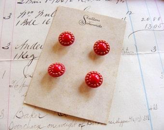 Vintage 1950's Schwanda Buttons Red Gold Trim  1/2 inch