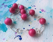FREE SHIPPING Bright Pink Enamelled Beads and Sterling Silver Necklace