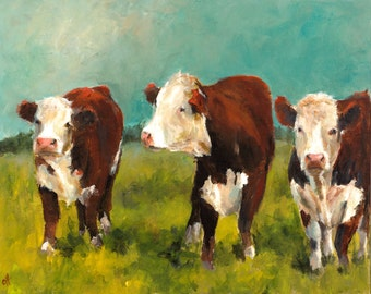 Cow Painting - Herefords in the Afternoon - Giclee Print of an Original Painting by Cari Humphry 16x20