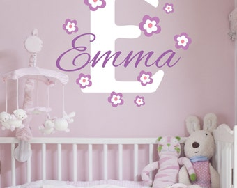 Custom Personalized Name And Initial Flowered Vinyl Wall Decal Sticker F10