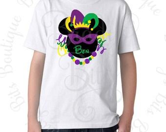 Disney Mardi Gras Shirt - Personalized Mouse Head