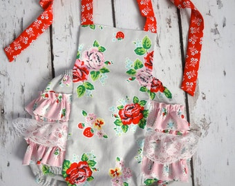 Strawberry Biscuit Floral Retro Sunsuit custom 0-3 months,3-6 months,6-12 months, 12-18 months,18-24 months