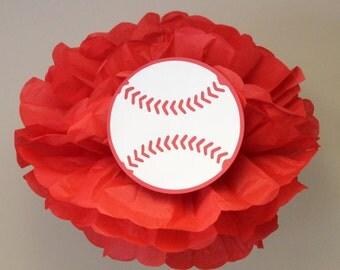 Baseball pom pom kit    baseball football soccer sports themed party decoration