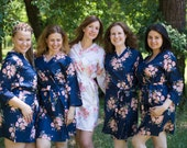 Sale Navy Blue Faded Flowers Bridesmaids Robe Sets Kimono Robes. Bridesmaids gifts. Getting ready robes. Bridal Party Robes. Floral Robes.