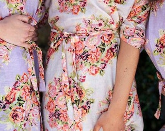 FLASH SALE - Lilac Floral Posy Bridesmaids robes | Kimono Robes,  Wraps, bridesmaids gifts, getting ready robes, Bridal party robes