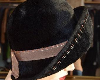 Black 1960's Cloche
