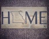 Home State Wood Wall Decor Sign - Home Sweet Home - USA - Missouri - Minnesota - Texas - College, Moving, or Out of State Gift Idea Decor